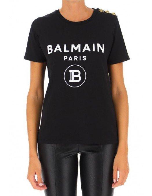 Tricou BALMAIN, Insertie logo, Nasturi metalici - UF11350I386EAB