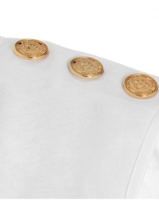 TRICOU BALMAIN, Gold Button, White - VF11000B008GAD