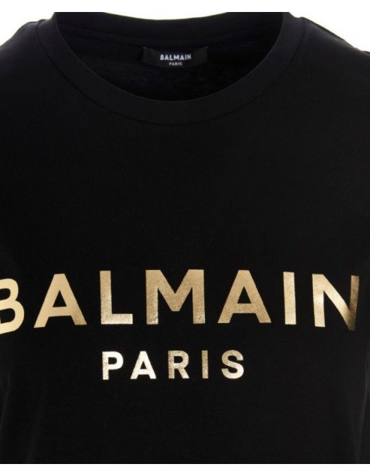 Tricou Balmain, Negru, Imprimeu Auriu - VF11350B022EAD
