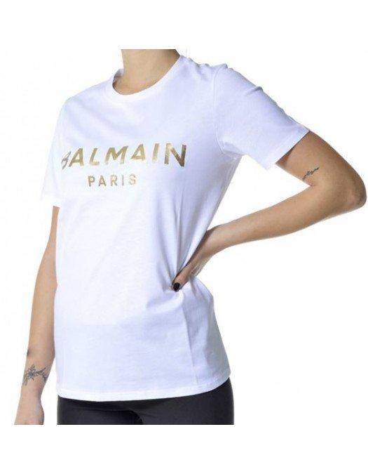 Tricou Balmain, Alb, Imprimeu Auriu - VF11350B022GAD