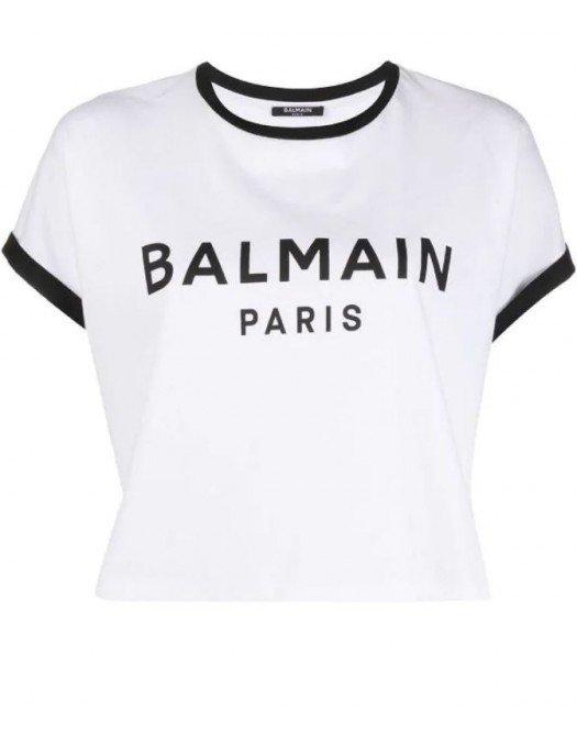 Tricou BALMAIN, Cropped, Alb cu negru - VF11357B001GAB