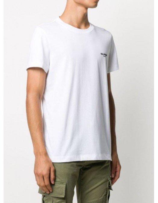 Tricou BALMAIN, Chest Logo, White - WH1EF000B069GAB