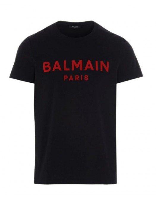 Tricou Balmain, Black, Bumbac, Insertie rosie - VH1EF000B073EAE