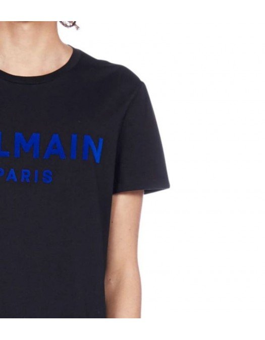 Tricou Balmain, Black, Bumbac, Insertie albastra - VH1EF000B073EBX