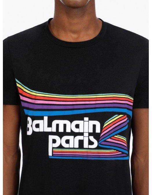 Tricou Balmain, Black, Imprimeu Multicolor - VH1EF000G016AAA
