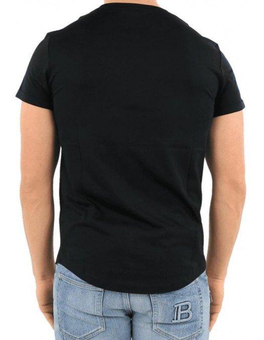Tricou Balmain, Black, Bumbac, COIN FLOCKED - VH1EF010B0300PA