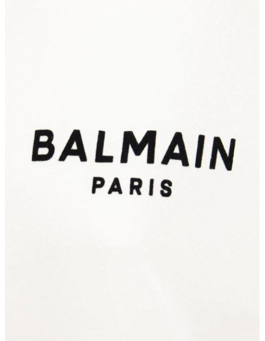 Tricou BALMAIN, Flocked Logo, Alb - WF0EF010B013GAB
