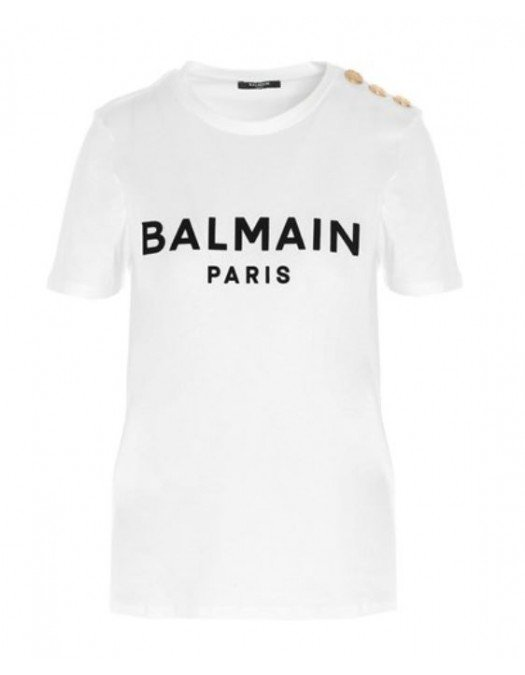 TRICOU BALMAIN, GOLD Button, White - WF1EF005B044GAB