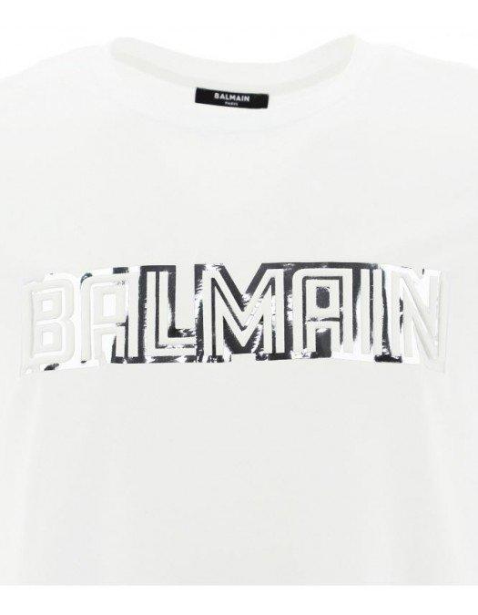 Tricou BALMAIN, Laminated Logo, Alb - WH0EF000B160GAC