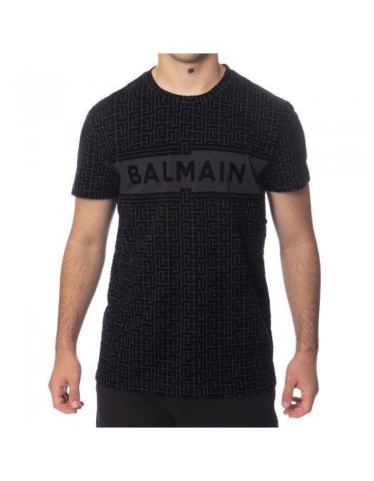 TRICOU BALMAIN, Black Monogram, Bumbac - WH1EF000B133EAP