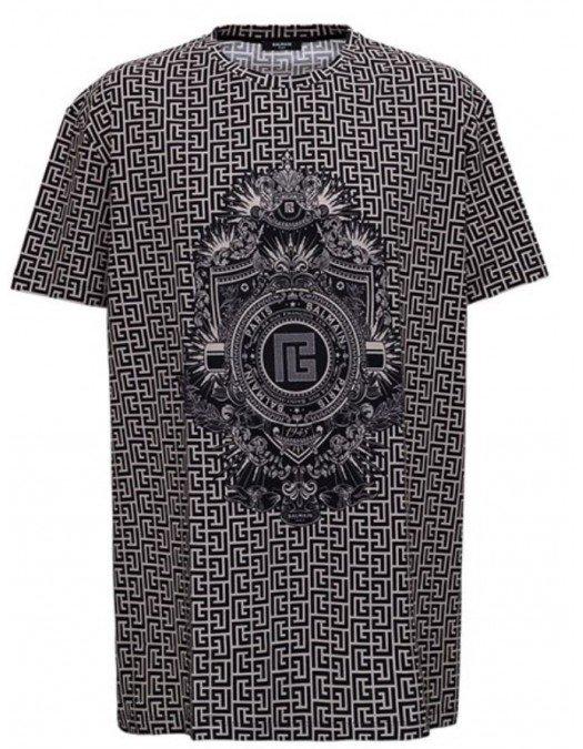 Tricou BALMAIN, Monogram Print, Black - WH1EH000G071GFE