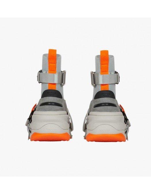 Sneakers BALMAIN, Gray  Orange Suede And Knit B Bold - WM0VJ279TLKEYCJ