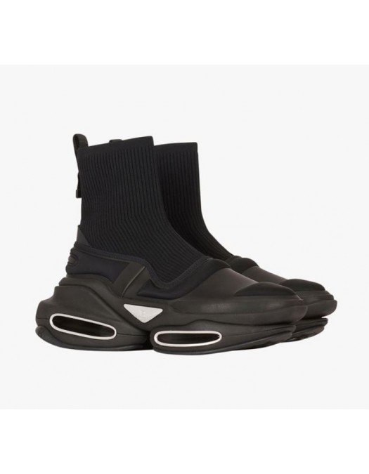 Sneakers BALMAIN, BBold high-top sneakers, Black and Silver - WM1VH229TLKP0PA