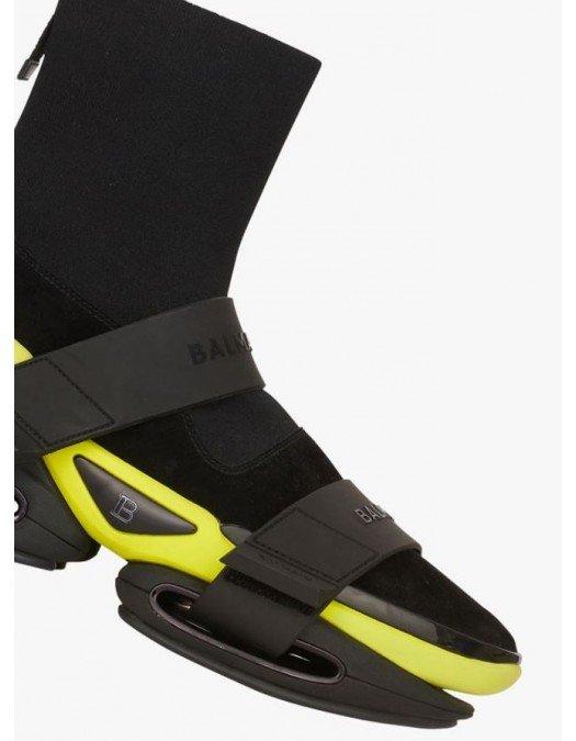 Sneakers BALMAIN, BBold high-top sneakers, Black and Yellow - WM1VH229TSEKEAJ